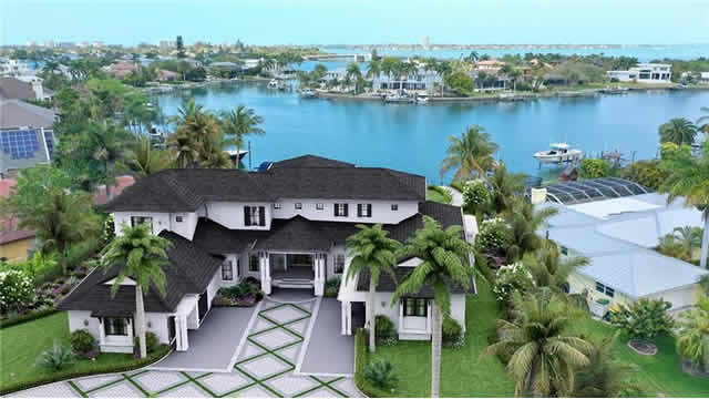 Rendering of the front of the gorgeous luxury home that is being constructed at 3850 Tangier Terrace in Sarasota, Florida